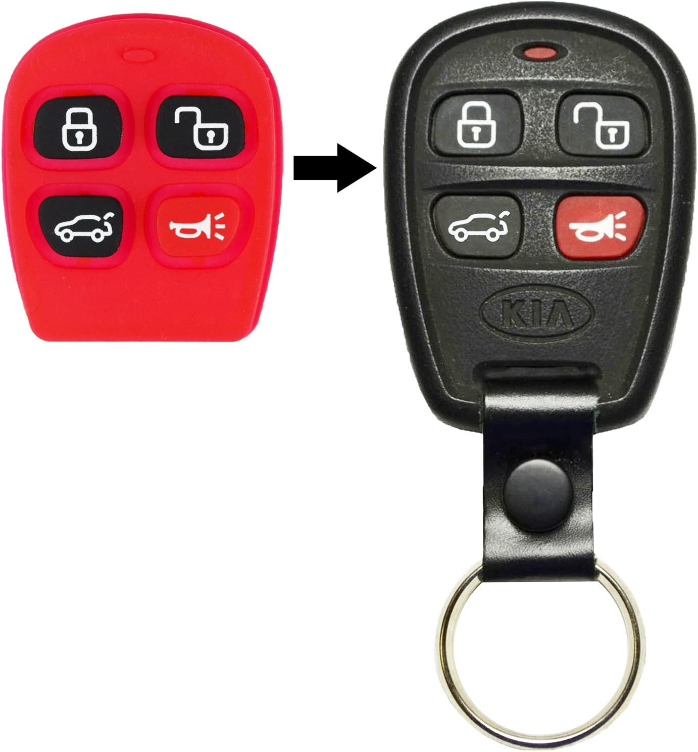qualitykeylessplus Two Replacement 4 Button Hatch Rubber Pads for Kia Remote Key Fob with Free KEYTAG