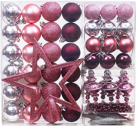 Victor S Workshop 60 Tlg Weihnachtskugeln Rosa Weihnachtsbaum Schmuck Dekoration Kunststoff Pink Violett Christbaumschmuck Fur Weihnachtsdeko Anhanger Mehrwegverpackung Amazon De Kuche Haushalt