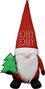 Rae Dunn Christmas Gnome Holly Jolly - 19 Inch Stuffed Plush Santa Figurine Doll with Felt Hat - Cute Ornaments and Holiday Decorations for Home Decor and Office