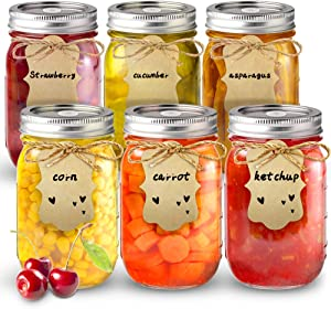 Sungwoo Mason Jars, Canning Jars (16 oz, 6 PACK, with Sealed and Straw Lid, Included 6 DIY Tag and Band, Ideal for Juice, Jam, Honey and Spice, Wedding Favors, Shower Favors, Baby Foods