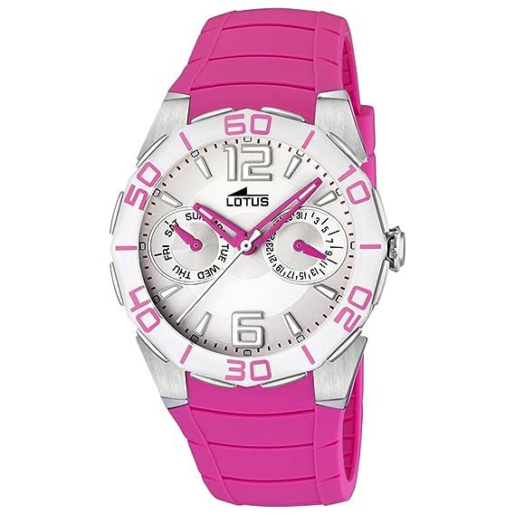 Lotus 15701/3 - Reloj analógico de mujer de cuarzo con correa de plástico rosa - sumergible a 50 metros: Lotus: Amazon.es: Relojes