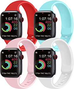 [Pack 4] Compatible with Apple Watch Bands 40mm 38mm for Women Men, Soft Silicone Bands Compatible with iWatch Series 6 5 4 3 2 1 & SE (Orange red/Light Blue/Pink/White, 38mm/40mm-S/M)