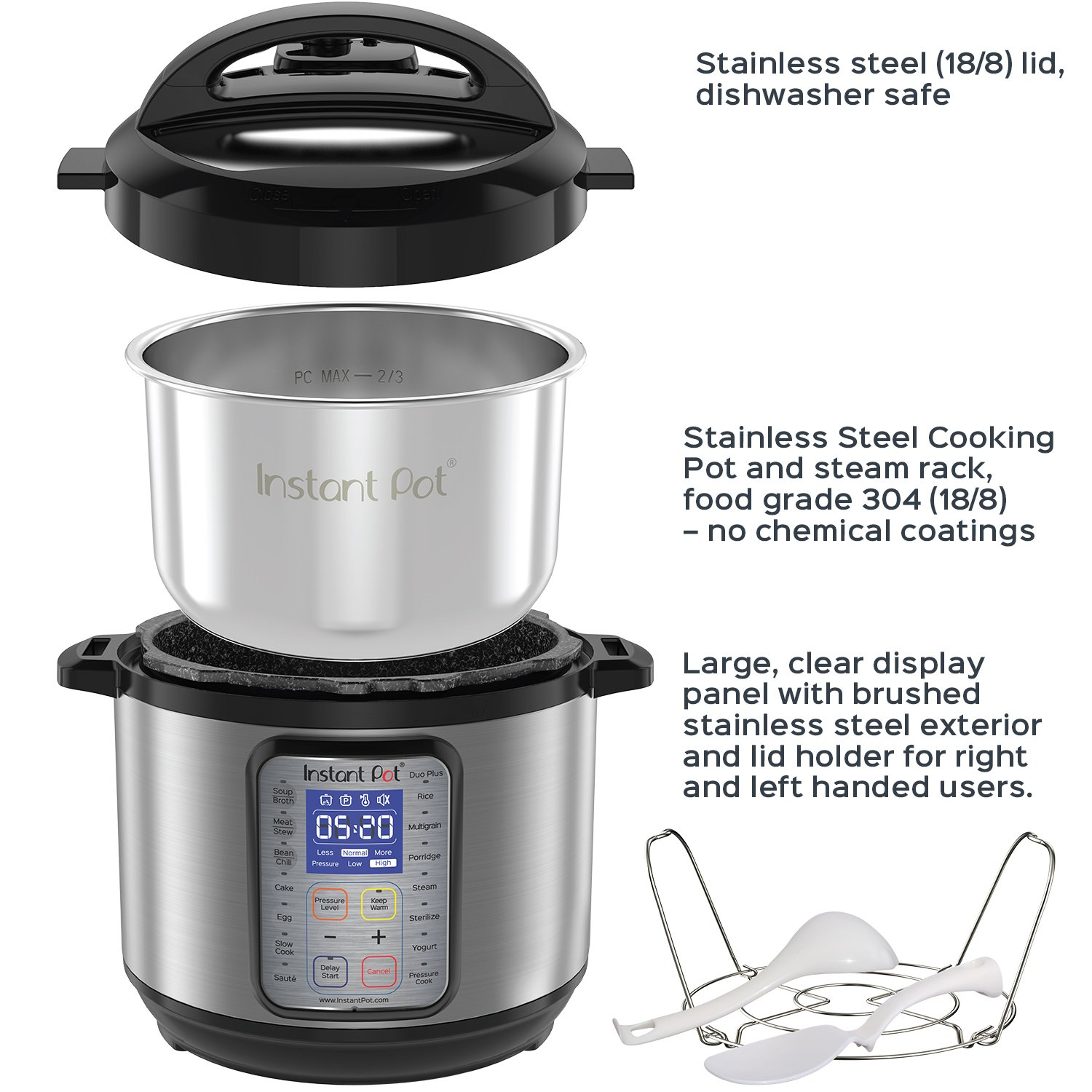 Instant Pot DUO Plus 8 Qt 9-in-1 Multi- Use Programmable Pressure Cooker, Slow Cooker, Rice Cooker, Yogurt Maker, Egg Cooker, Sauté, Steamer, Warmer, and Sterilizer by Instant Pot (Image #4)