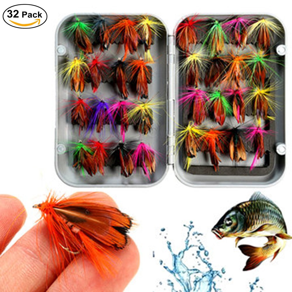 Petask Fly Fishing Lure Butterfly Like Dry Flies Bait Hook for Bass Salmon Trout with Waterproof Pocketed Case Box (32pcs)