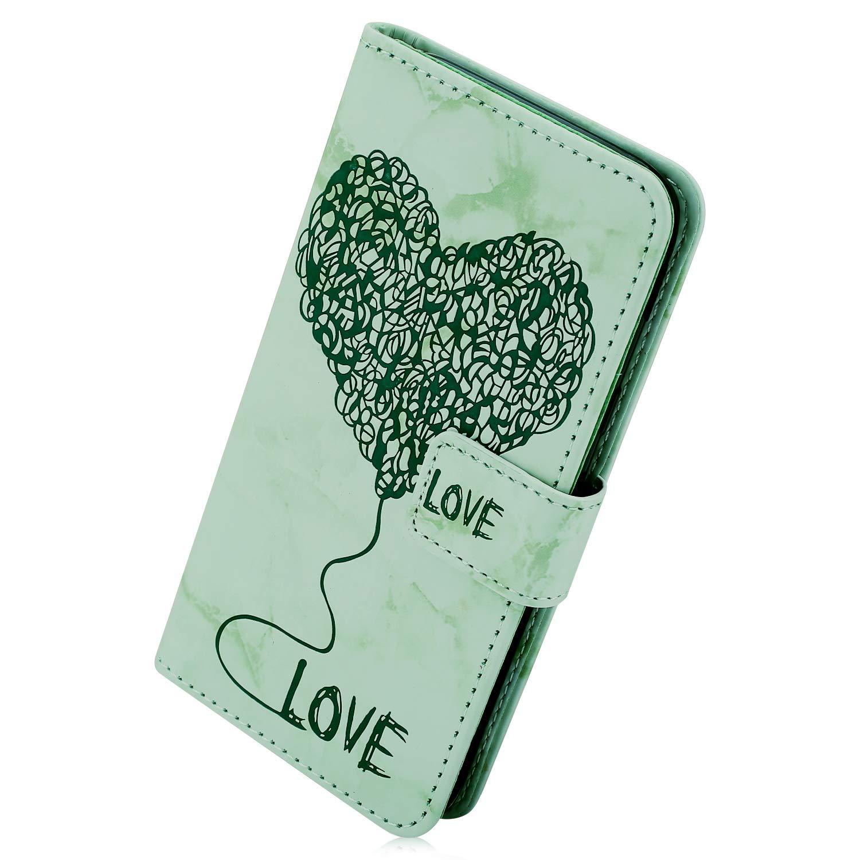 Kompatibel mit Handy Hülle Huawei Mate 20 Lederhülle Marmor Liebe Herz Muster Flip Case Ledertasche Bookstyle Klapphülle Handytasche Ständer Magnetverschluß Karteneinschub,Rosa