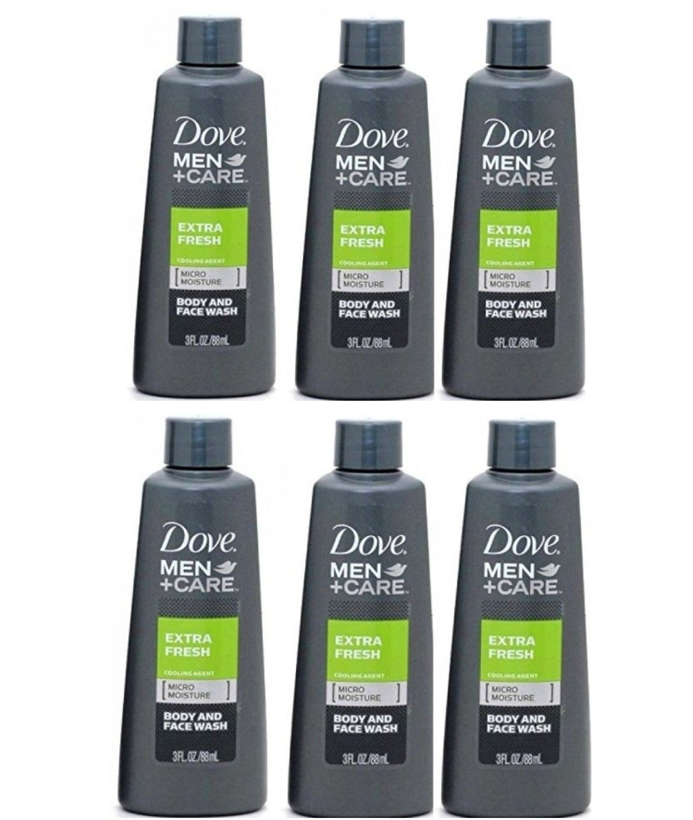 Dove Men Care Extra Fresh Body Wash 3 Ounce Travel Size (Pack of 6)
