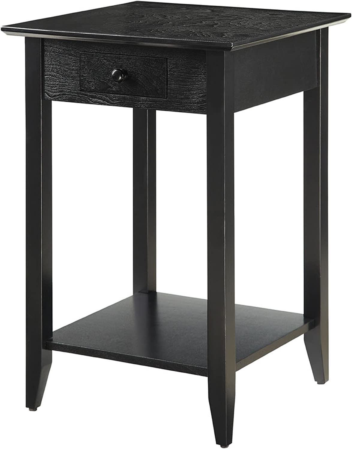 Convenience Concepts American Heritage End Table with Shelf and Drawer, Black