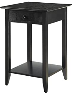 e1c34a14e0 Convenience Concepts American Heritage End Table with Shelf and Drawer,  Black