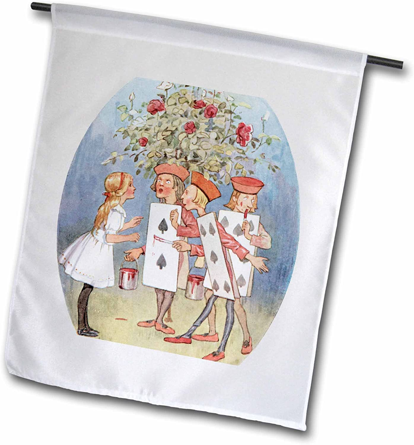 3dRose fl_110176_1 Painting The Roses Red Vintage Alice in Wonderland Garden Flag, 12 by 18-Inch