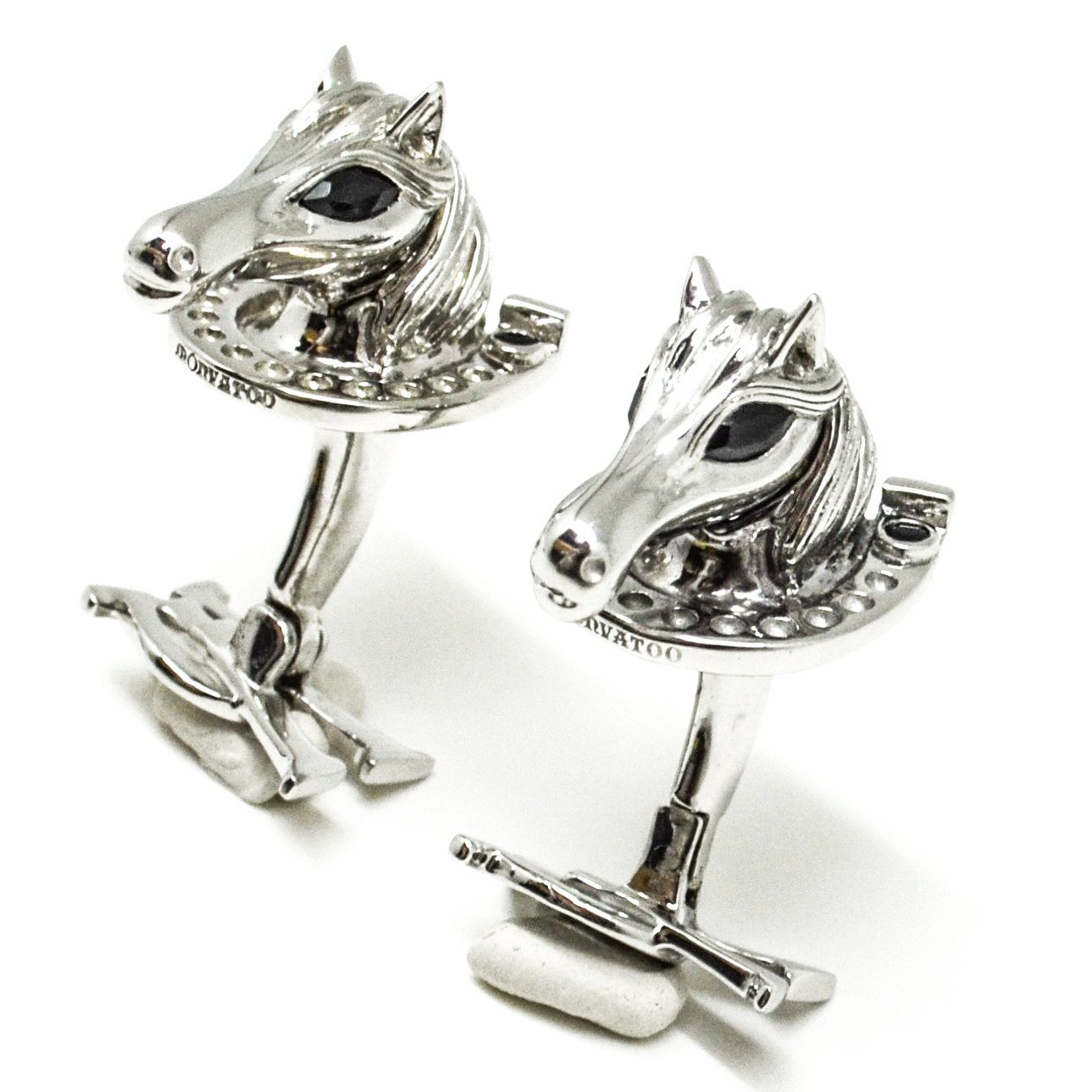 Silver Horse Cufflinks with Onyx eyes and horseshoes