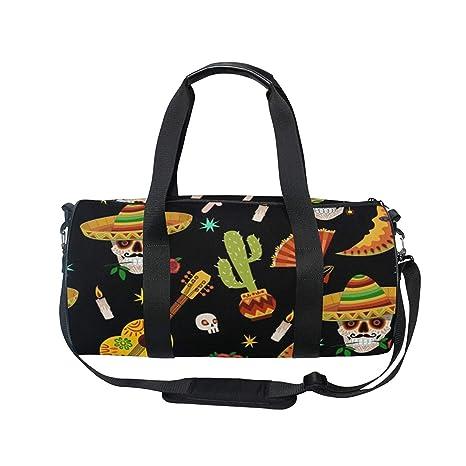 b4ab6e7e335d Amazon.com : OuLian Duffel Bag Skull And Cactus Women Garment Gym ...