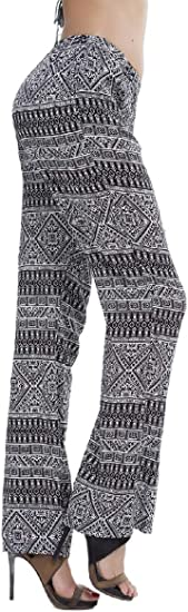 Nicellyer Womens High Waisted Straight-Fit Boho Ethnic Style Pull-on Pants