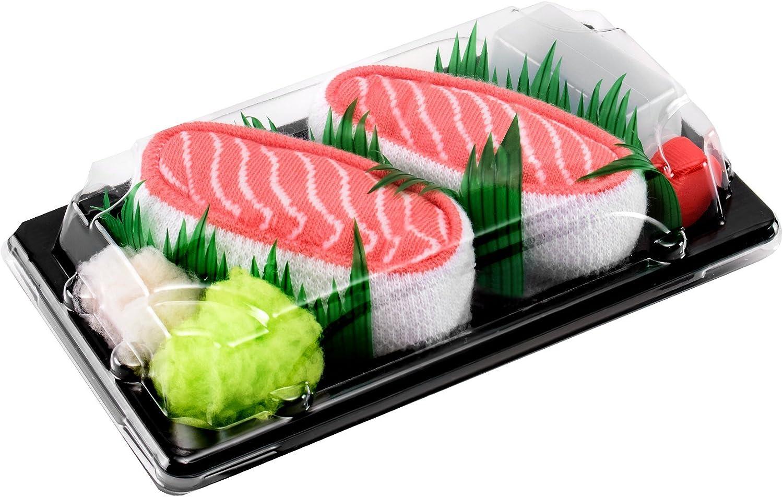 Rainbow Socks - Mujer Hombre Calcetines Sushi Salmón - 1 Par