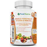 Whole Food MultiVitamin and Minerals with Probiotic Enzymes - 120 Multivitamins for Women and Men - Packed with WholeFood and