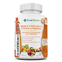 Whole Food MultiVitamin and Minerals with Probiotic Enzymes - 120 Vegan Multivitamins for Women and Men - Packed with WholeFood and Herbal Ingredients - Powerful Antioxidants for Digestive Support