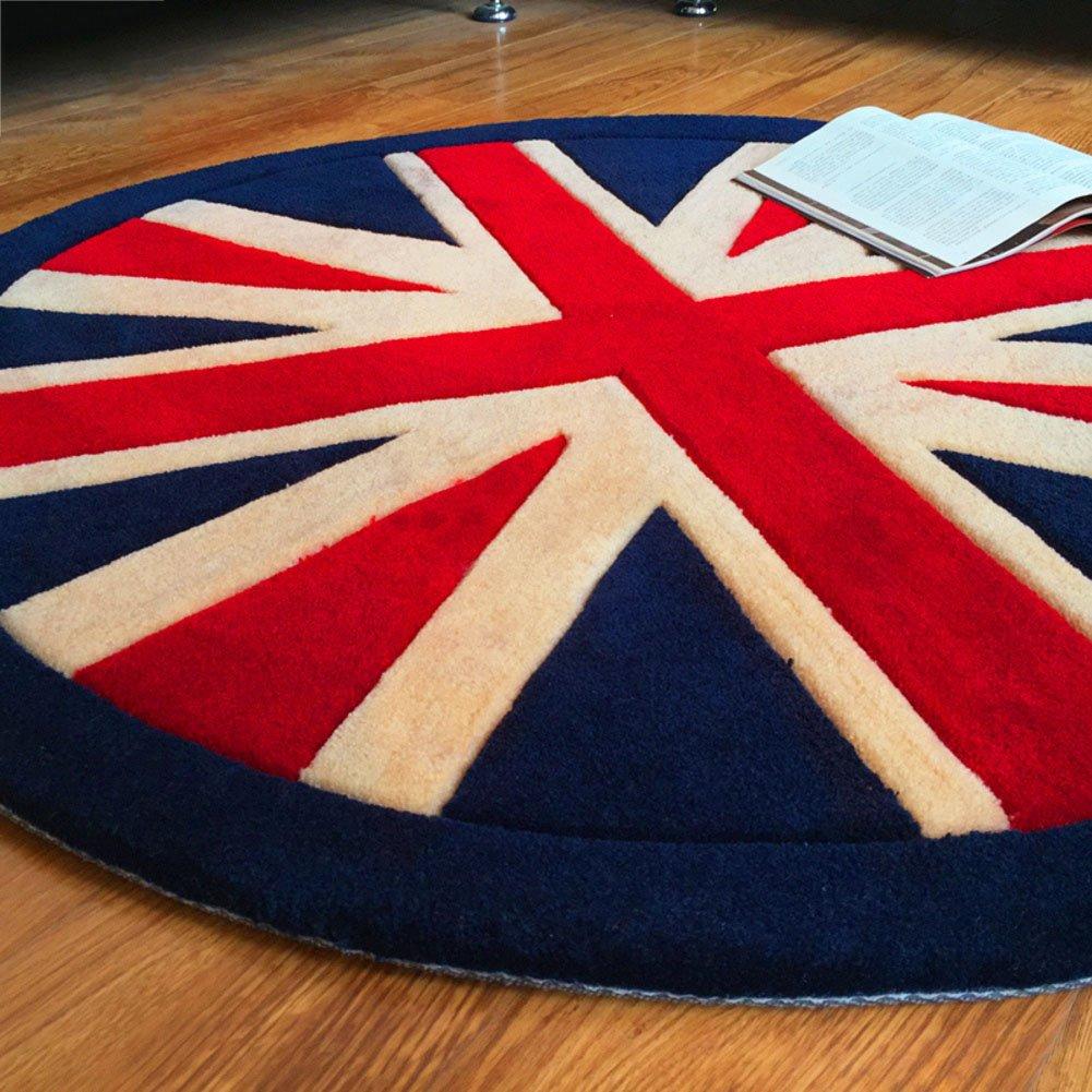 LJ&XJ Cozy round carpet,Padded encryption floor mat classic british retro style area rugs for living room children bedroom decor anti slip nursery rugs-D diameter120cm(47inch)