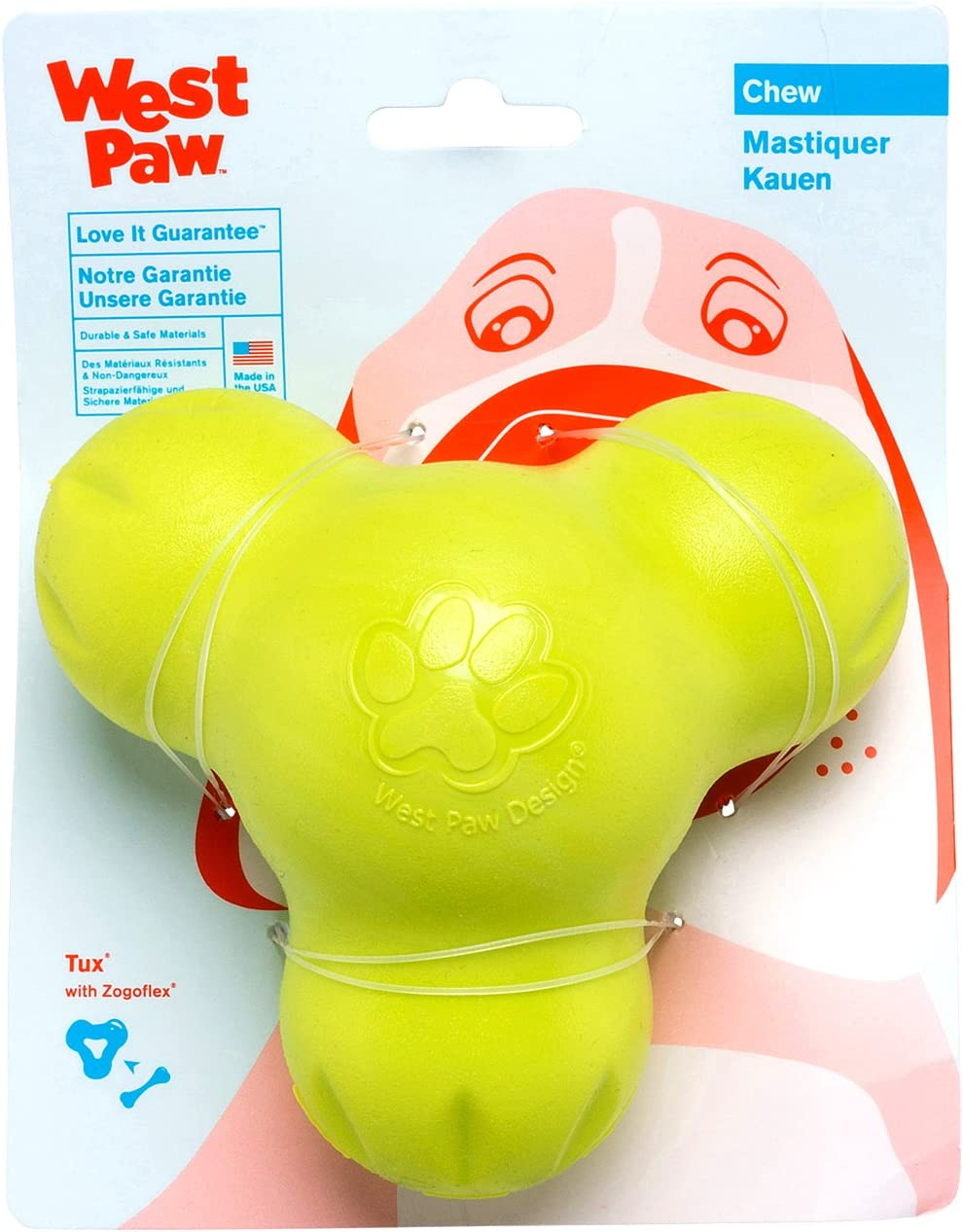 West Paw Zogoflex Tux Treat Dispensing Dog Chew Toy – Interactive Chewing Toys for Dogs – Dog Games for Aggressive Chewers, Fetch, Catch – Holds Kibble, Treats, Made in USA, Small, Granny Smith