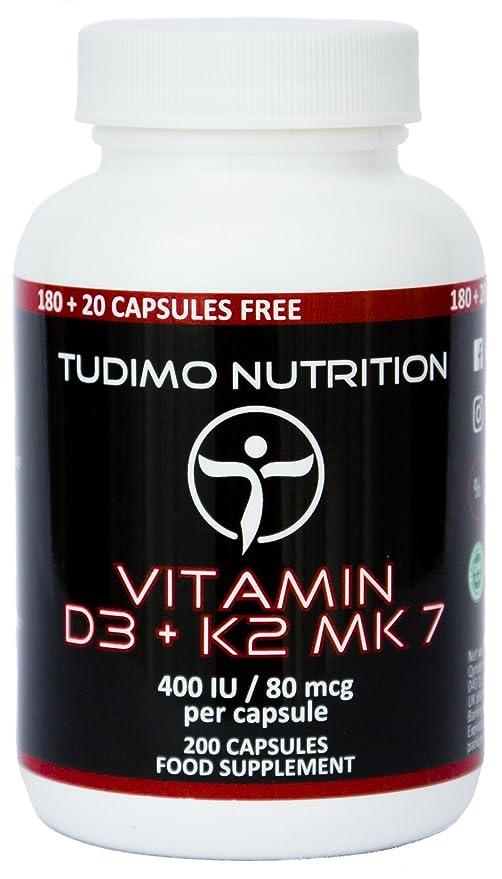 Vitamina D3 y K2 MK7 ☆ 400 UI / 80 mcg – 200 pzas (