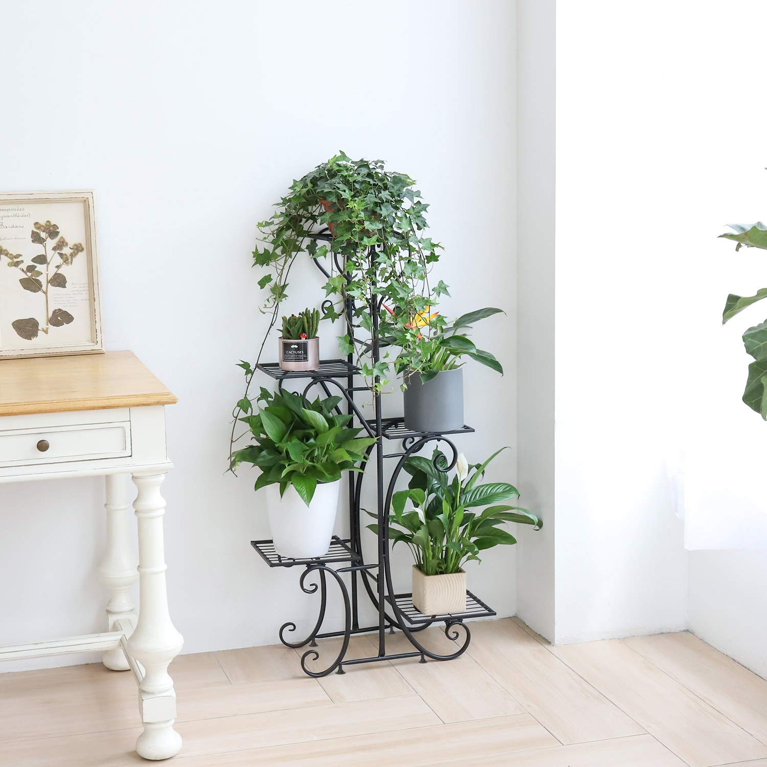 unho Plant Stand Indoor Outdoor Flower Stand Metal Plant Pot Holder Rack Flower Display Stand for Garden Patio Office Black 22.4 x 42