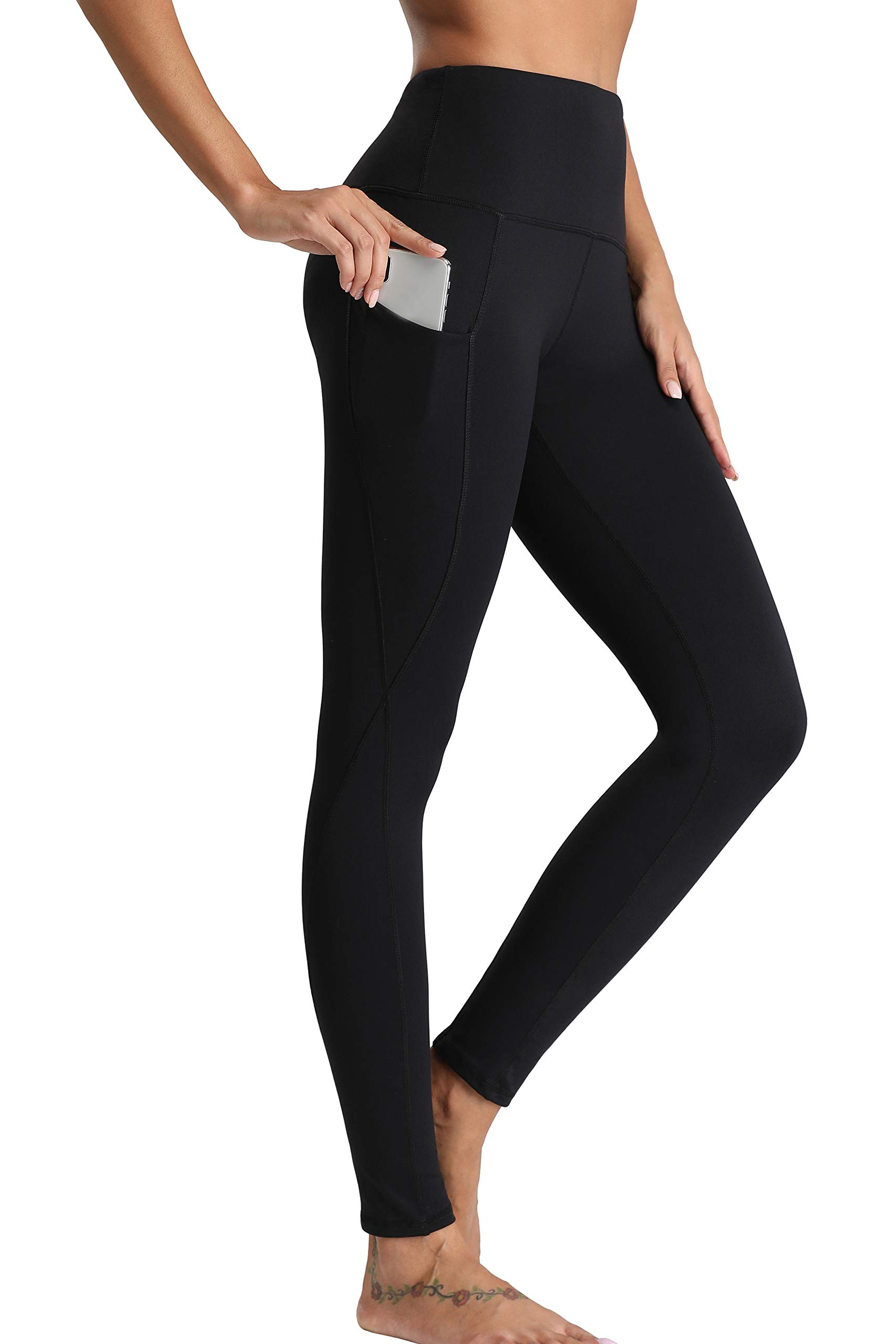Oalka Women Power Flex Yoga Pants Workout Running Leggings - Outside Pockets Black L by Oalka