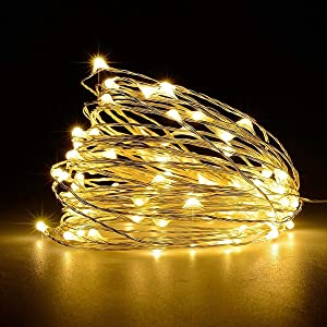 LiyuanQ Battery Operated String Lights, Led Mini Fairy String Lights 50 LED 16.5 FT Battery Powered Sliver Wire Starry Fairy Lights for Indoor Outdoor Wedding Home Garden Party Decor (Warm White)
