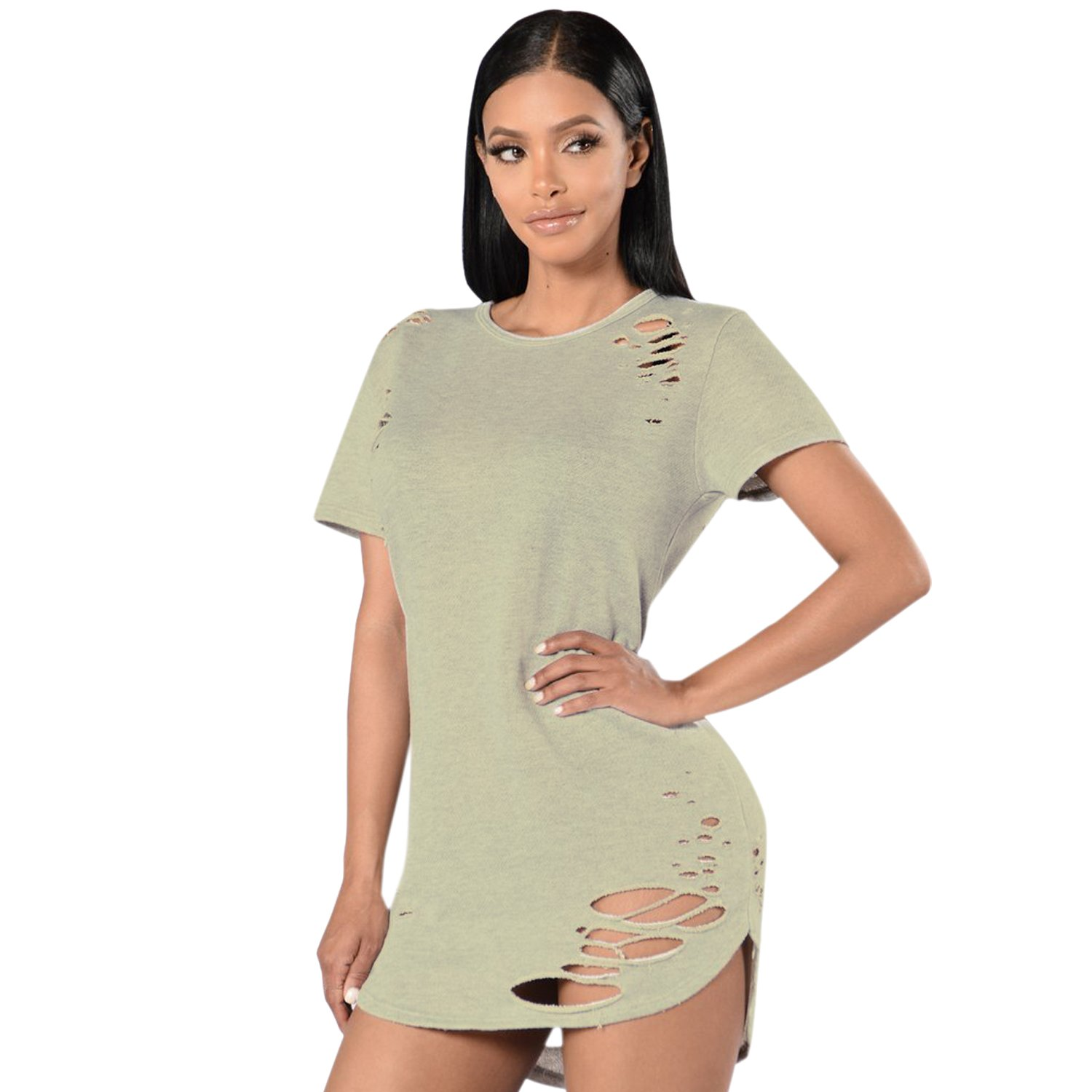 Fashion Story Women's Summer Hollow-out Plain Round Neck Loose T-Shirt