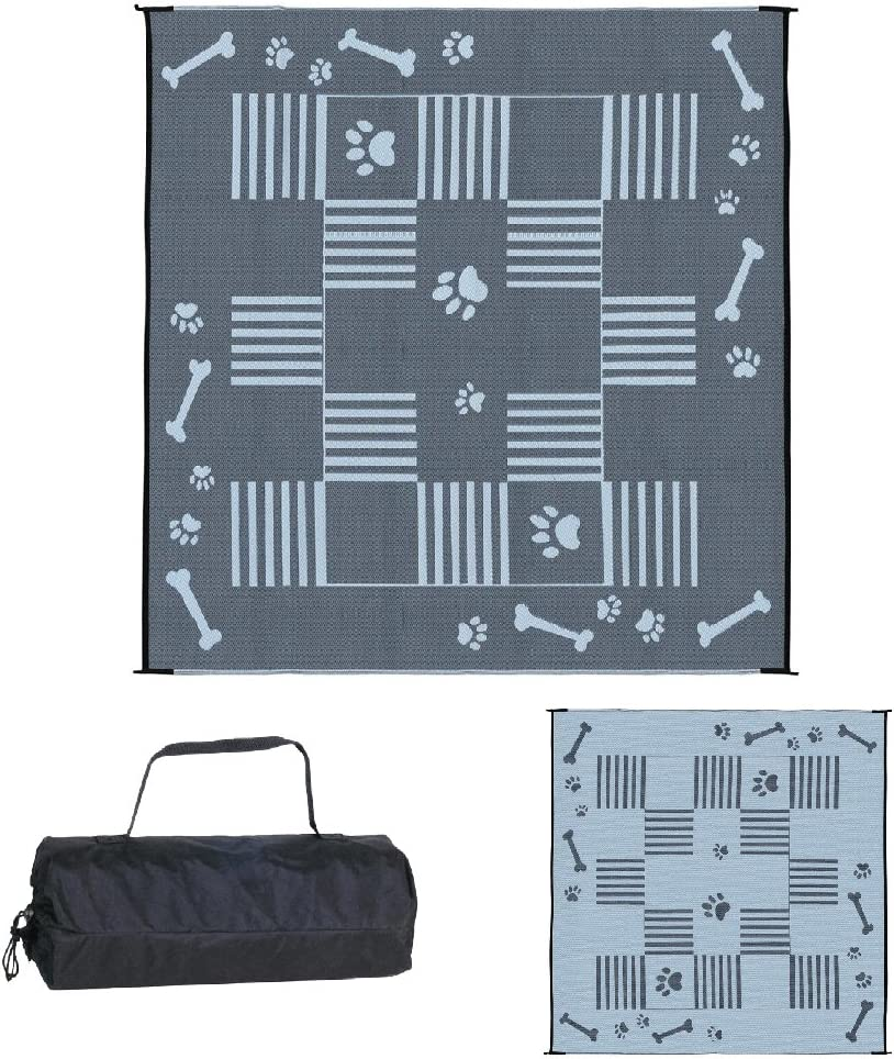 Stylish Camping Ming's Mark DA1 Reversible Dog Paw/Bone Patio Mat - 9' x 9', Black