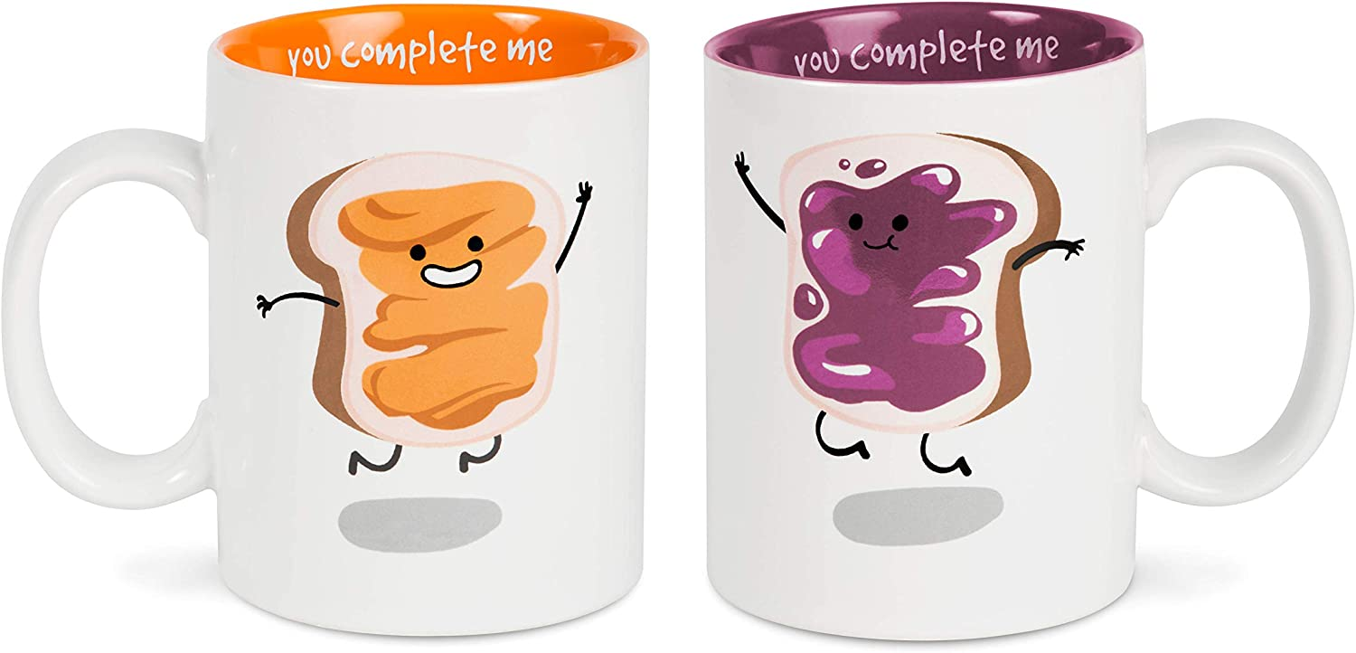 Pavilion Gift Company Peanut Butter & Jelly Complimentary Dishwasher Safe Coffee Mugs, 18 oz, Multicolor