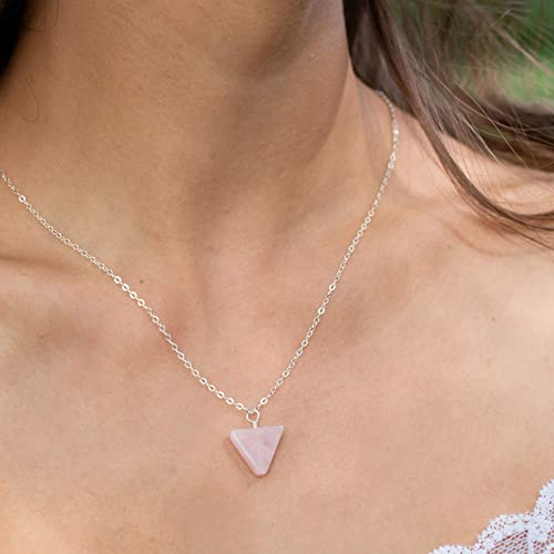 Rose quartz necklace in 925 silver Rose quartz jewelry in sterling silver. Pink gemstone pendant for women October birthstone necklace