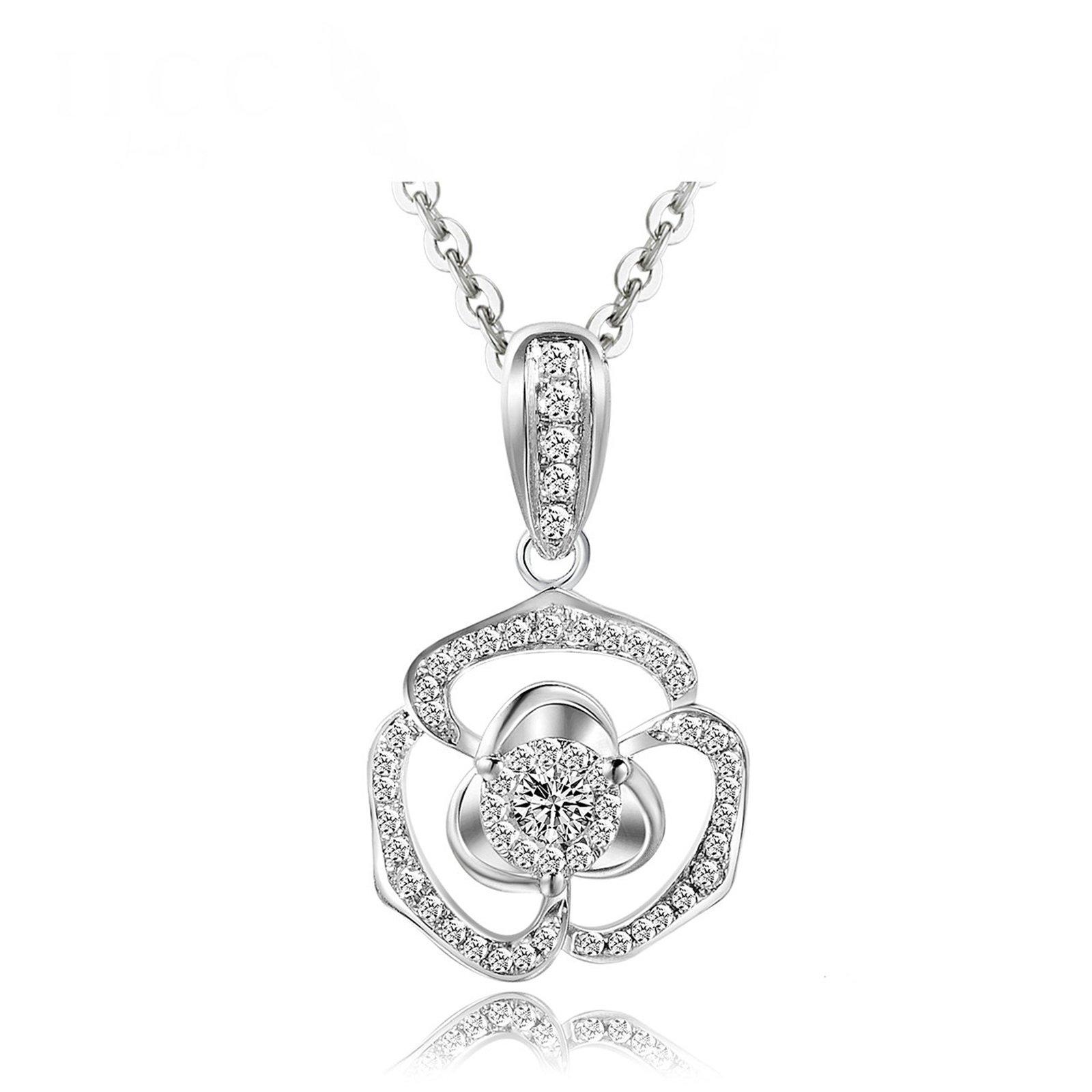 Beydodo Women Necklace 18k Real Gold Round Cut Diamond Necklace for Wedding Flower Pendant White Gold