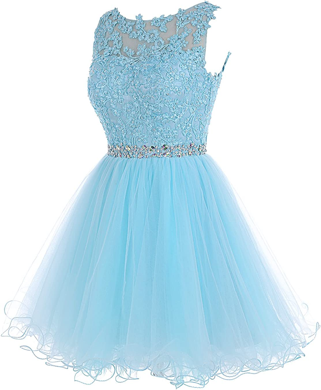 Tideclothes Short Beaded Prom Dress Tulle Applique Homecoming Gowns Tc10198Blackus12