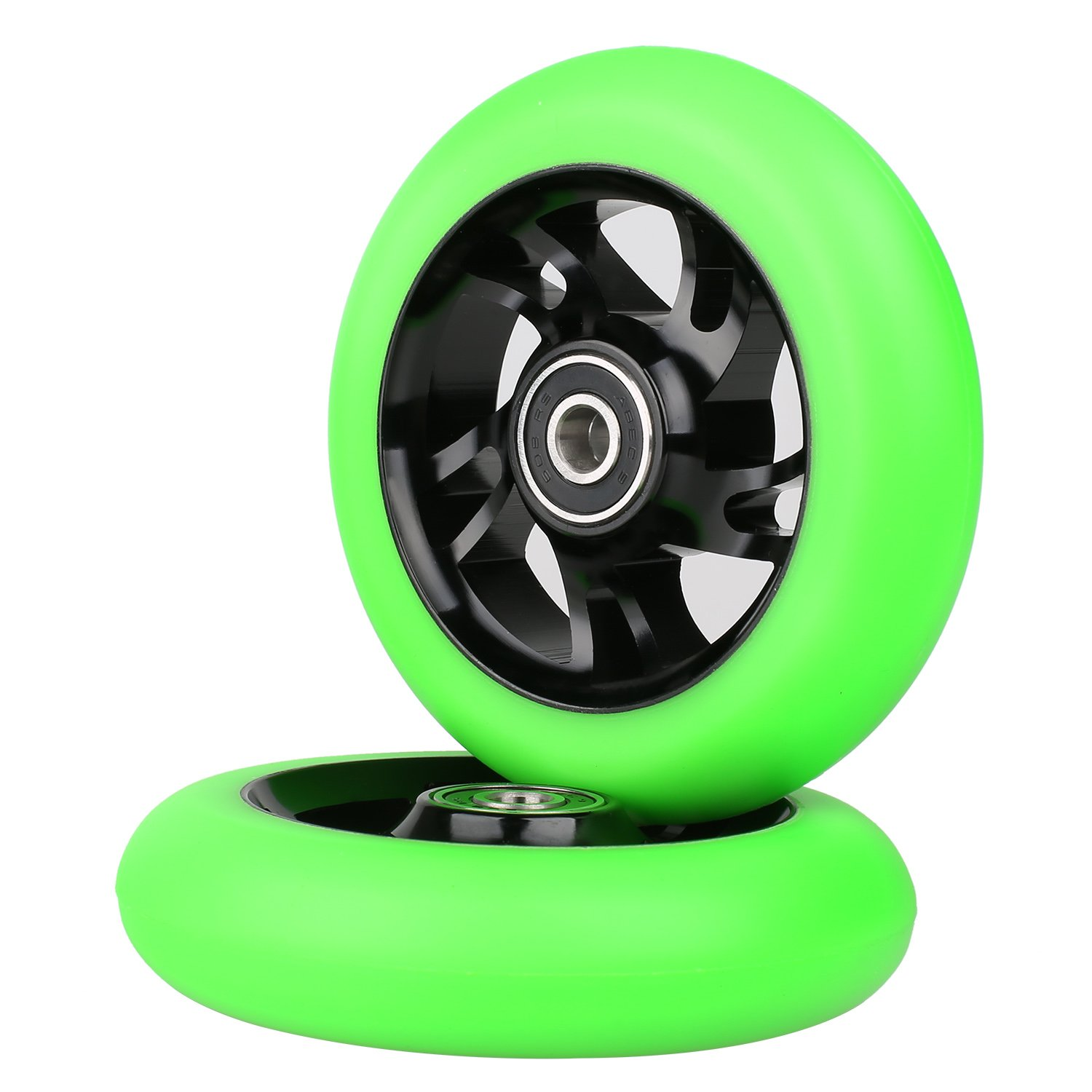 Kutrick 2pcs 100mm Complete Stunt Pro Scooter Wheels 100mm Replacement with ABEC-9 Bearing