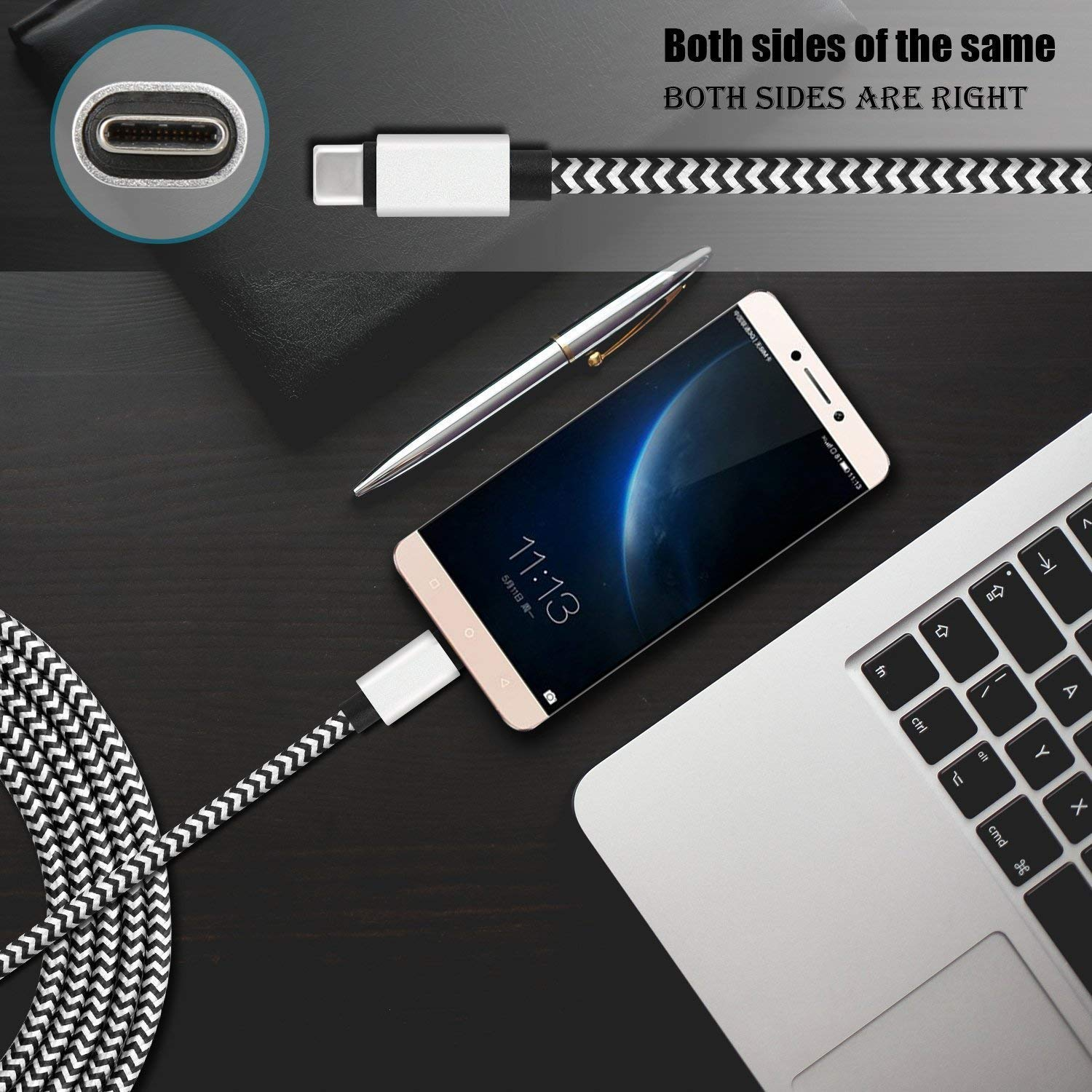 USB C Cable(2Pack,6.6ft)Fast Charging Cord for Samsung Galaxy S10e S10 S9 Plus Note 9 8,LG G8 V50 V40 ThinQ Stylo 4,Moto Z4 Z3 G7,Google Pixel 3 3a XL,OnePlus 7 6T,Kindle Fire HD 10 Tablet