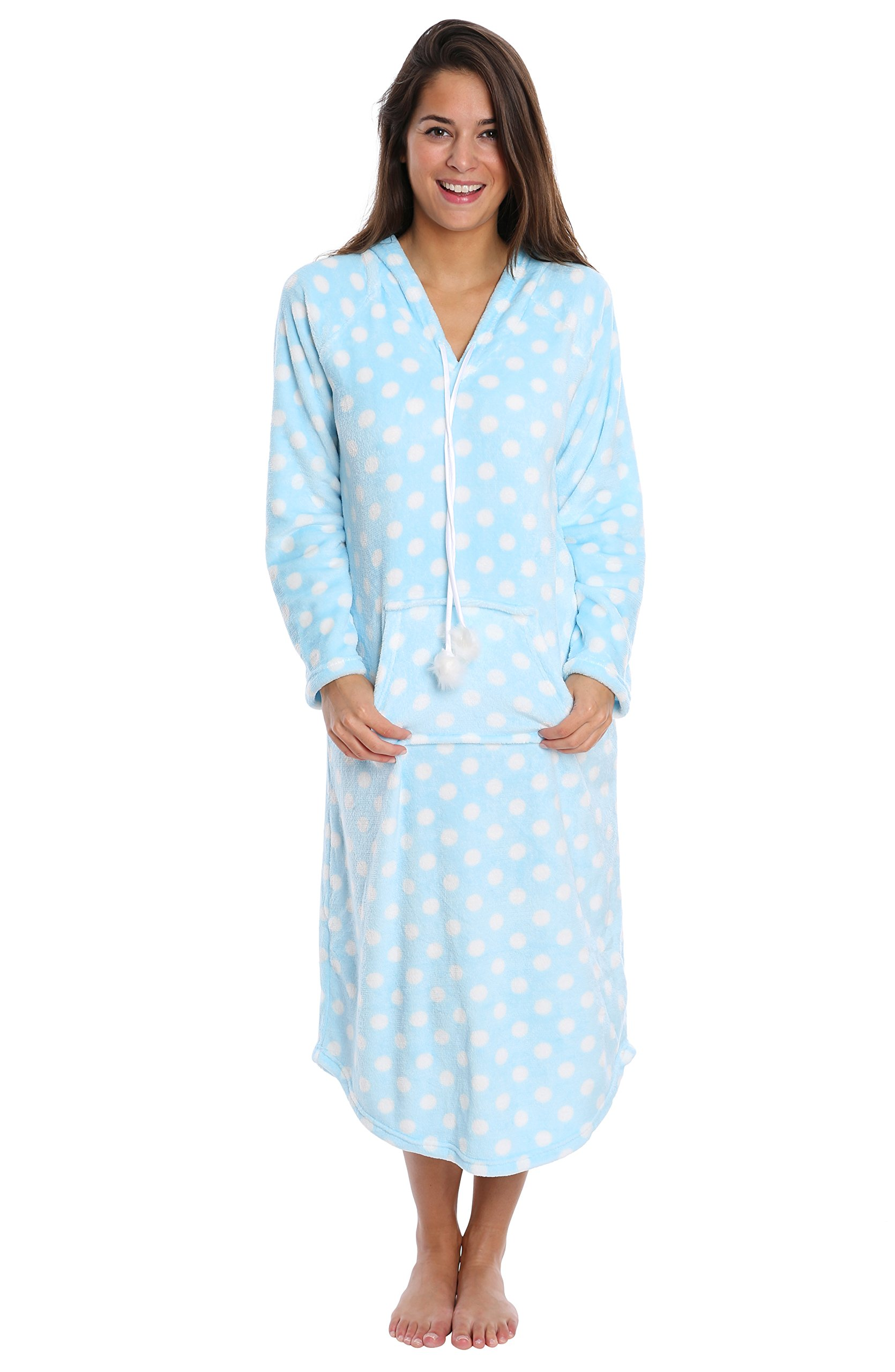 Nouveau Women's Maxi-Style Plush Pullover Sweater - Pajamas for Women - Blue and White Polka Dot, Small