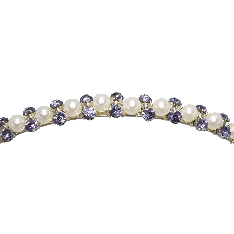 Handmade Womens Purple Crystal Rhinestone Faux Pearl Hairband Hair Accessories Headband