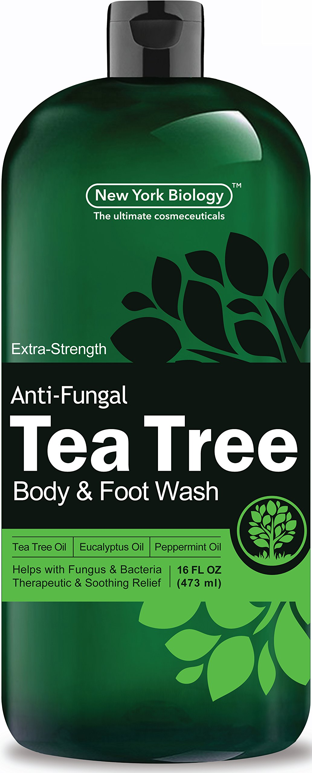 Antifungal Tea Tree Oil Body Wash – HUGE 16 OZ – 100% Pure & Natural - Extra Strength Professional Grade - Helps Soothe Toenail Fungus, Athlete Foot, Body Itch, Jock Itch & Eczema by New York Biology (Image #2)