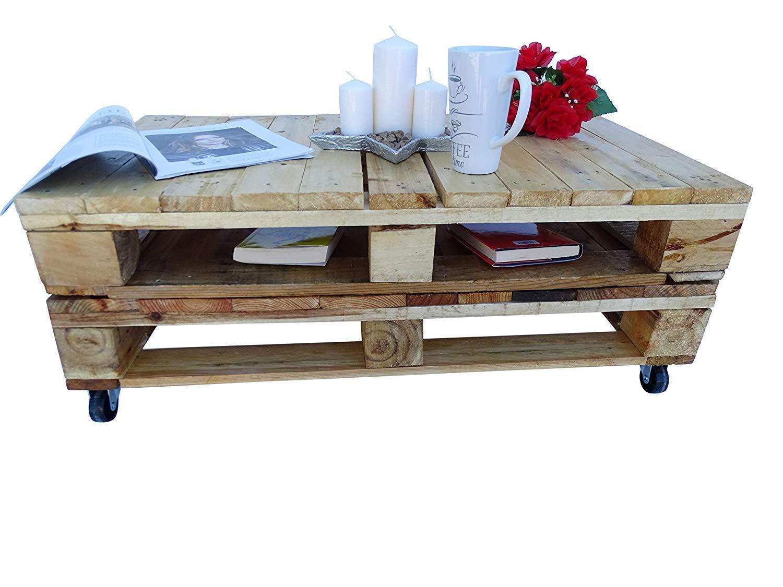 Mesa de palets de madera con ruedas - Mesita Auxiliar & Centro hecha con madera de pallets para Salon & Jardin, terraza, DIY - Estilo rustico, nórdico, escandinavo, farmhouse, retro - Mesas Or