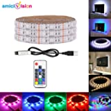 amiciVision USB 5V Waterproof 5050 RGB Strip 120 LED 2 m IP67 with RF Remote for TV Background (Black)