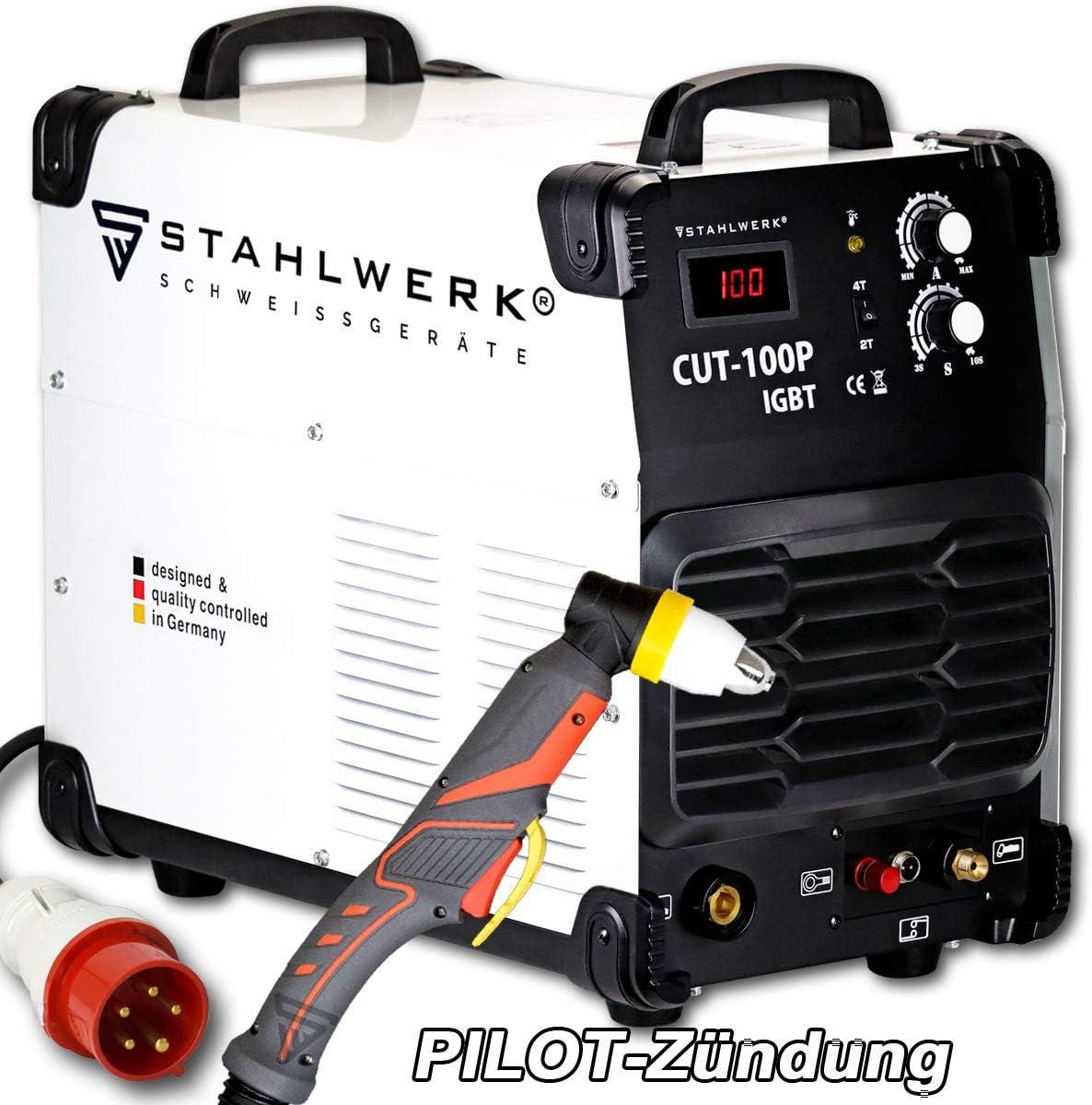 STAHLWERK CUT 100 P IGBT Cortador de plasma con 100 A, encendido por piloto, hasta 44 mm de potencia de corte, adecuado para película oxidada, blanco, 7 años de garantía