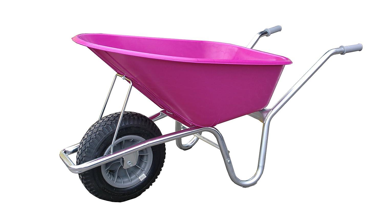 Schubkarre mit Kunststoffwanne pink 100 l, Gestell verzinkt