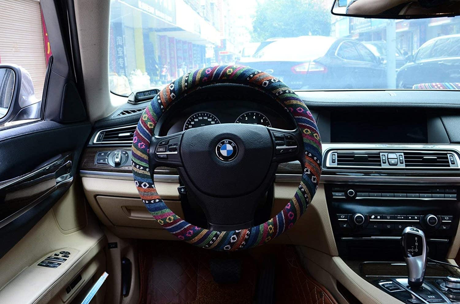 Pink Valleycomfy Boho Universal 15 inch Steering Wheel Covers with Cloth for Women