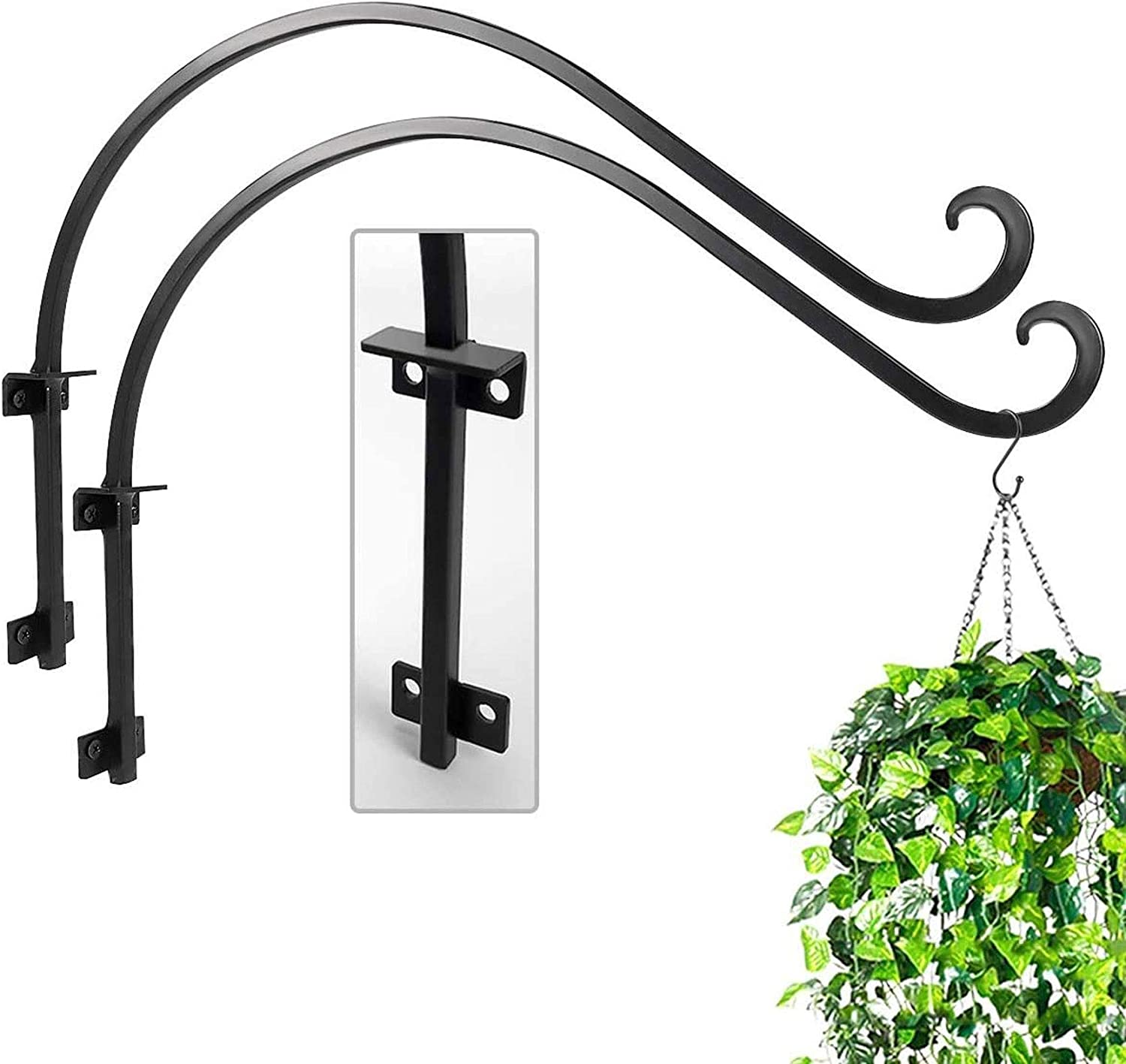 Handmade Forged Hanging Plant Bracket 16 inch Black Wall Plant Curved Hook Flower Pot Bird Feeder Wind Chimes Lantern Patio Lawn Garden for Shelf Shelves,Wall with Triangular Fixers More Stable -2 Pcs