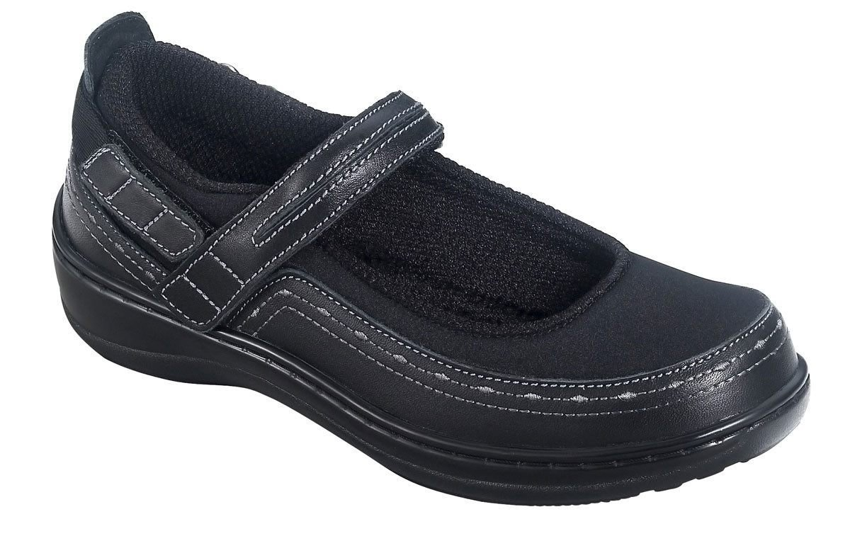 Orthofeet Chickasaw Orthopedic Diabetic Women's Stretchable Mary Jane Shoes B007IG1VFW 9.5 XW US|Black