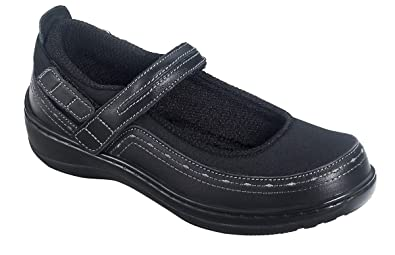 4a1bb524496 Orthofeet Chickasaw Orthopedic Diabetic Women s Stretchable Mary Jane Shoes  Black