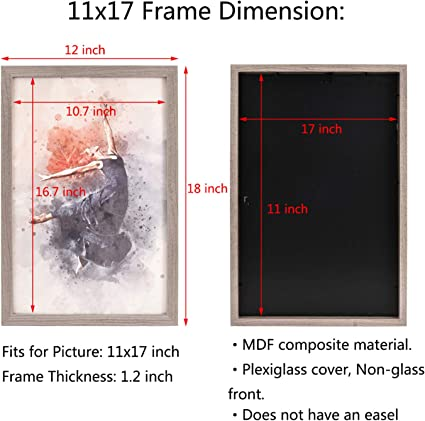 Metrekey Picture Frame 11 X 17 Inch Poster Frame 28 X 43 Cm Wall Decoration Made Of Grey Wood Mdf And Perspex Sheet For Posters Art Prints Wedding Photo Family Photo Graduation