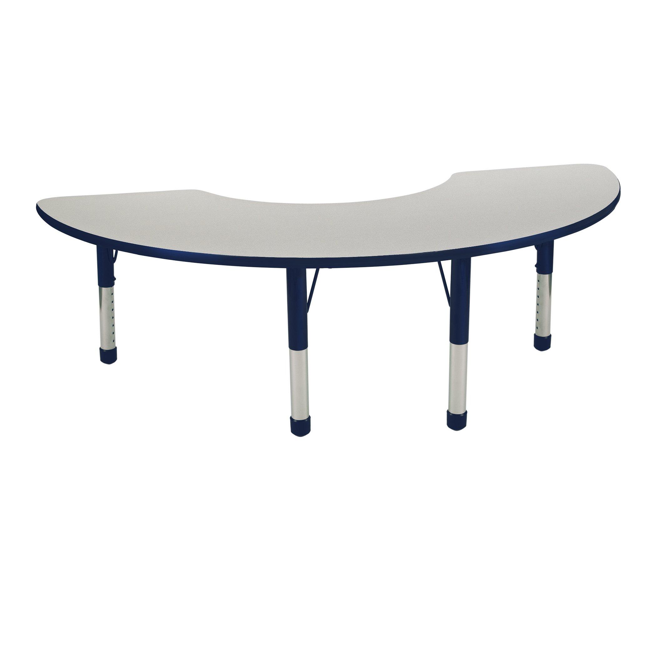 ECR4Kids 36'' x 72'' Half Moon Activty School Table, Chunky Legs, Adjustable Height 15-24 inch (Grey/Navy)