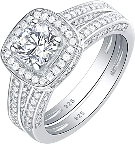 Newshe Jewellery Flower Wedding Band Eternity Ring Engagement 925 Sterling Silver White AAA Cz 5-10