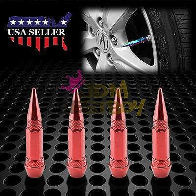 JDMBESTBOY 4PCs Red Long Spike Tire Valve Stem Caps Metal Thread Wheel Tires TVC28: Automotive