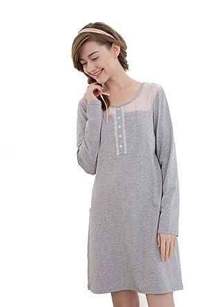 Elegant Damen Kleid Nachthemd Sleepshirt Nachtwäsche Nachtkleid ...