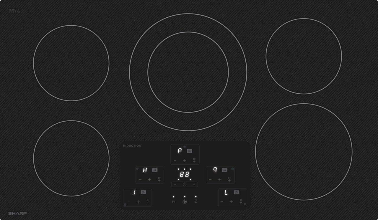 Sharp SDH3652DB 36 Inch Electric Induction Cooktop with 5 Elements, in Black